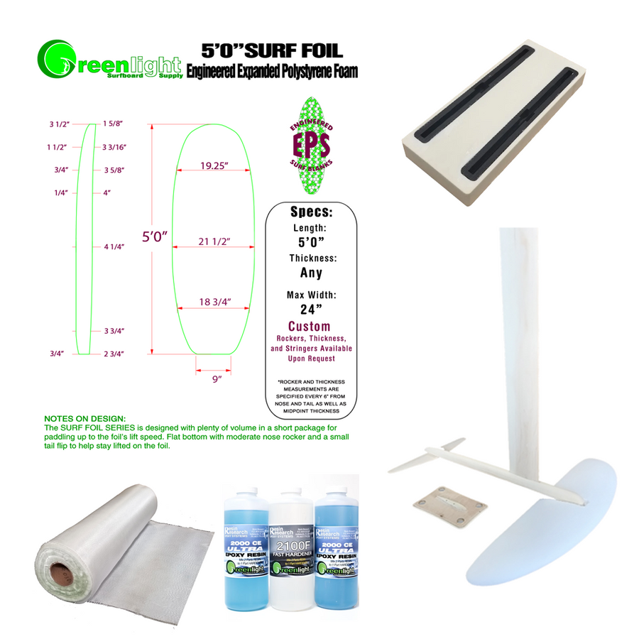 Hydrofoil Surfboard / Kiteboard  / Wakeboard DIY Building Kit