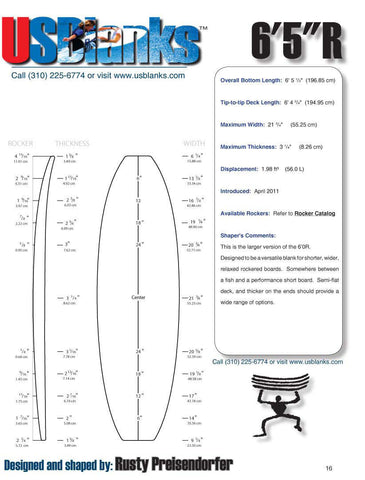 US Blanks 65R Surfboard Blanks