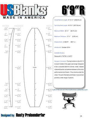US Blanks 69R Surfboard Blank