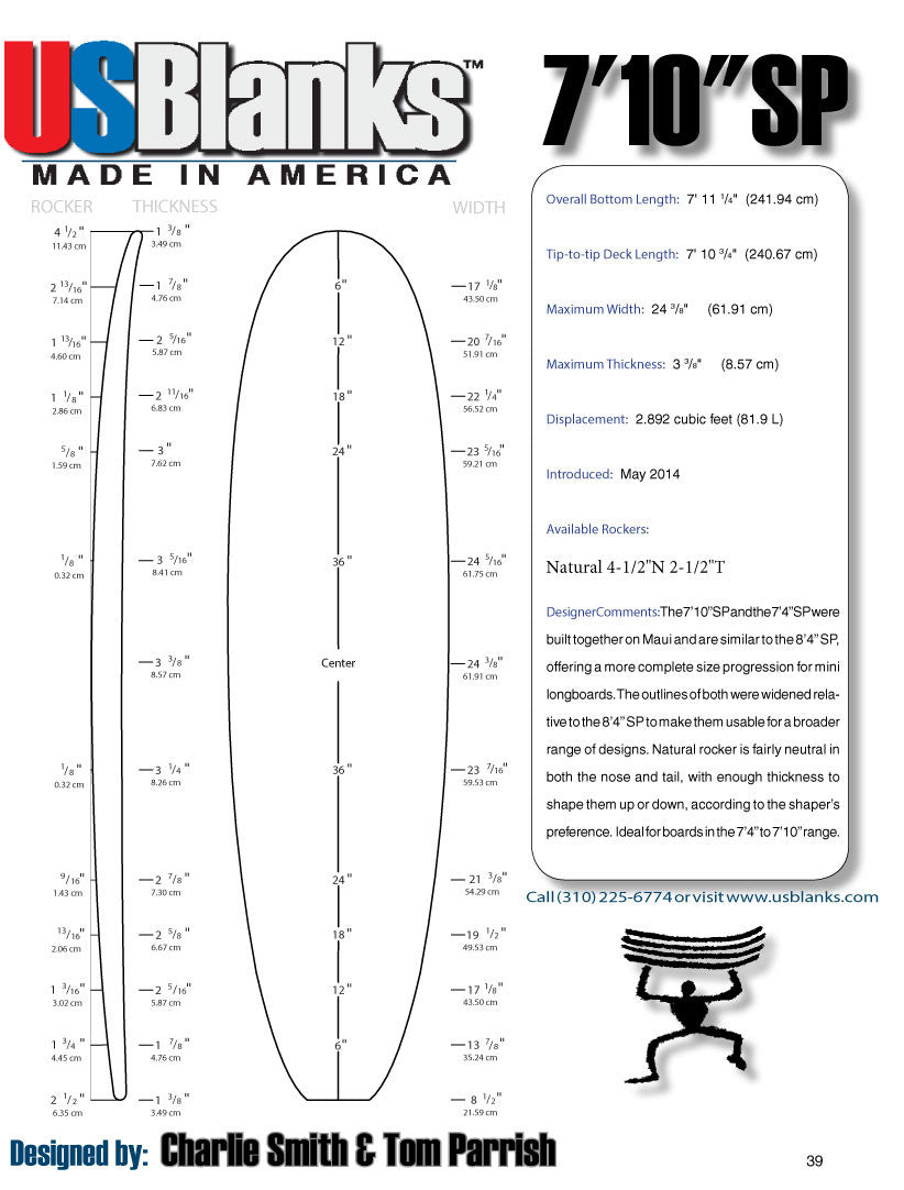 US Blanks 710SP Surfboard Blank