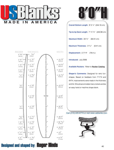 US Blanks 80H Surfboard Blank