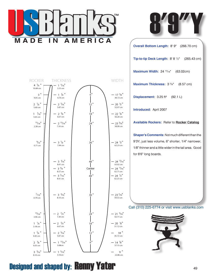 US Blanks 89Y Surfboard Blank
