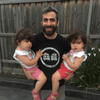 Twin dad with My Daughters are Clones shirt