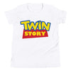 Twin Story (Toy Story Parody Shirt) for Kids in White