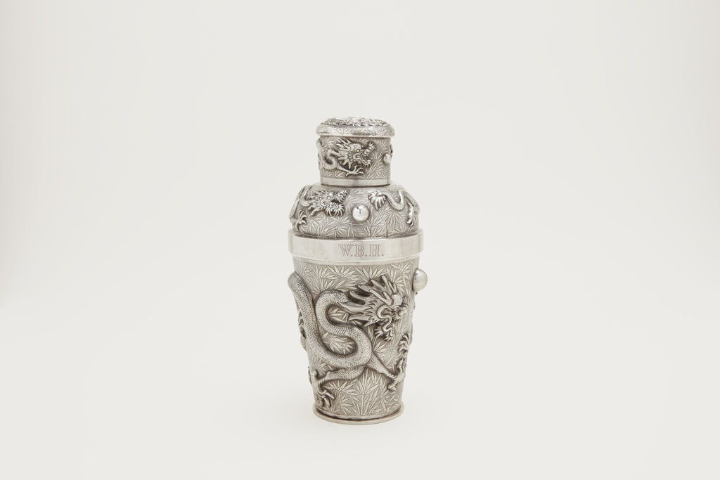 Chinese Export Silver Dragon Cocktail Shaker