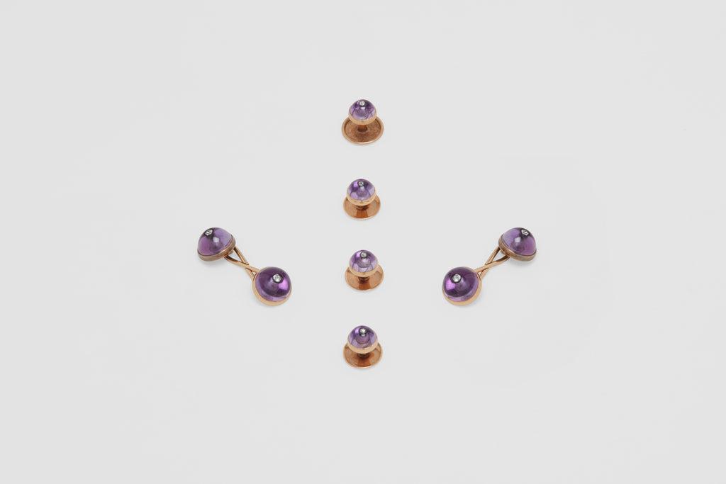 Amethyst & Diamond Cufflinks & Dress Studs