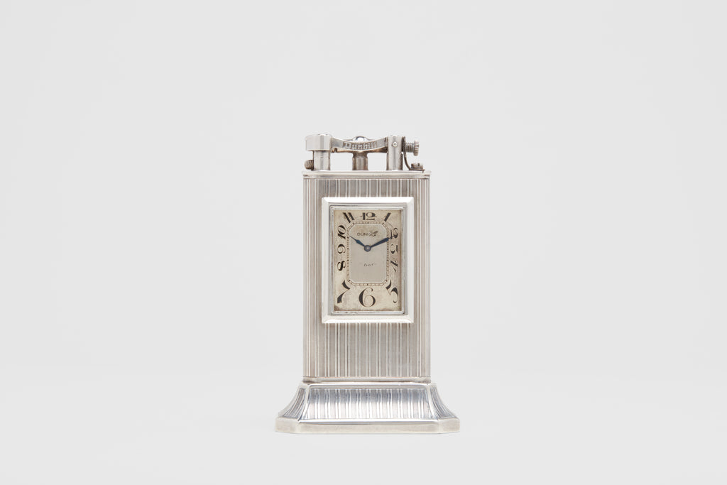 Dunhill Striped Sterling 'Club' Clock on Base