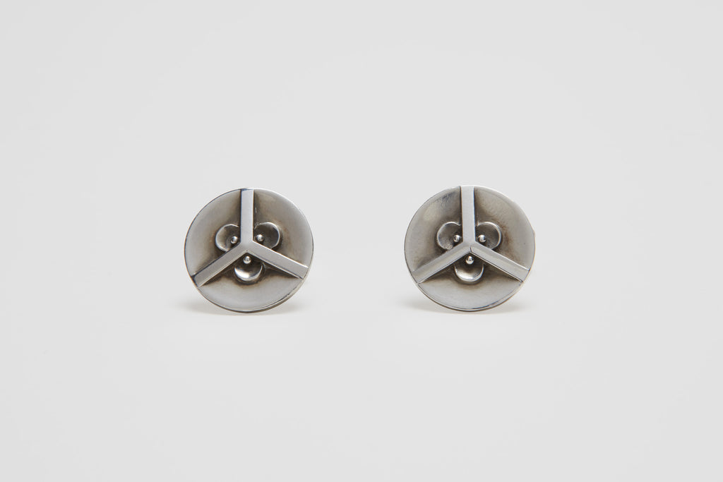 Georg Jensen Sterling Silver Geometric Pattern Cufflinks