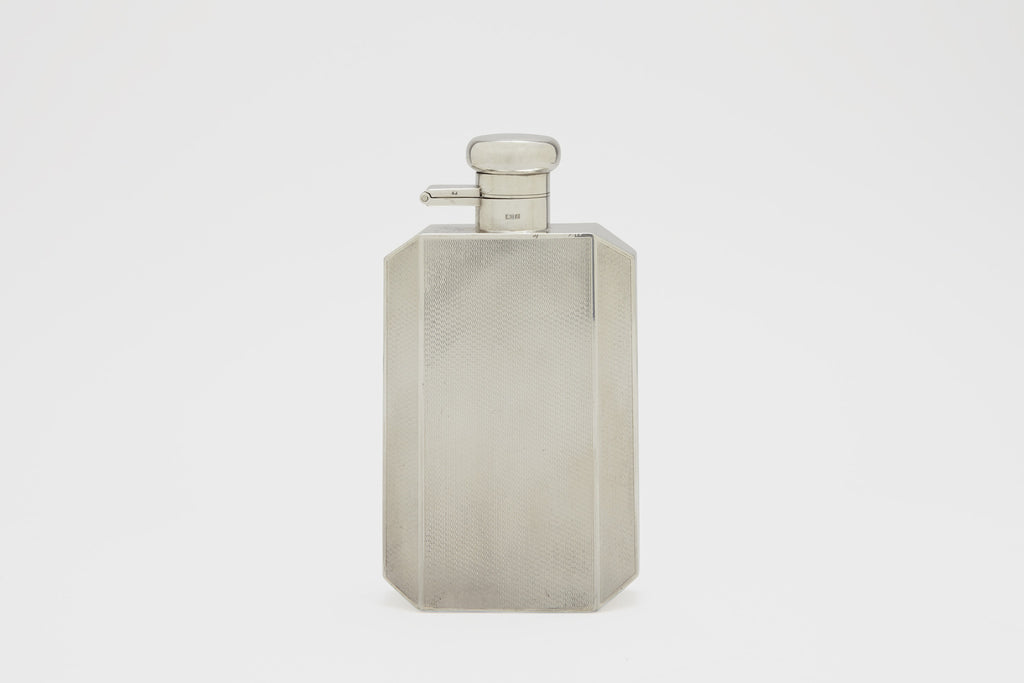 Engine Turned Sterling Silver Flask