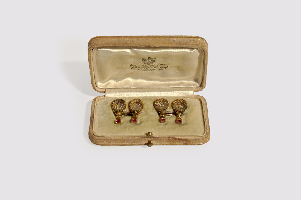 Hot Air Balloon Ruby & Moonstone Cufflinks