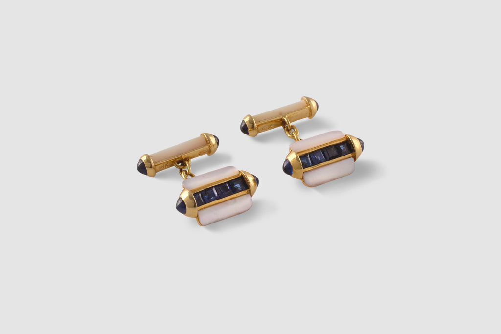 Cartier Mother of Pearl Sapphire Cufflinks