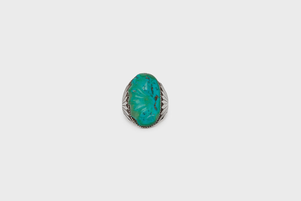 Carved Turquoise Silver Ring