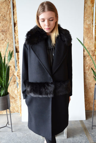 Anya Coat in Italian Wool with Fur Collar and Waistband