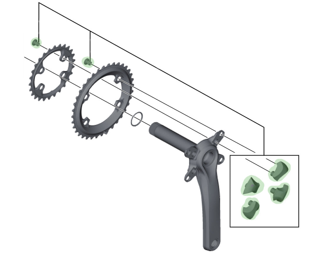 SHIMANO ULTEGRA 6800 OUTER CHAINRING BOLT AND CAP-SET OF 8
