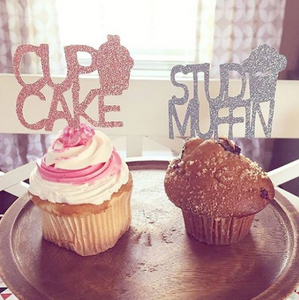 Stud Muffin/Cupake Gender Reveal Cupcake Toppers - Glambanners - 3