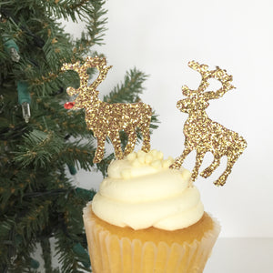 CHRISTMAS:  Rudolph + Co.  Cupcake Toppers - Glambanners - 2