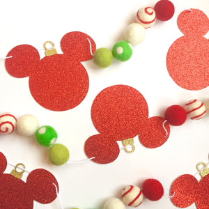 Tinsel Mouse Glitter + Felt Ball Garland