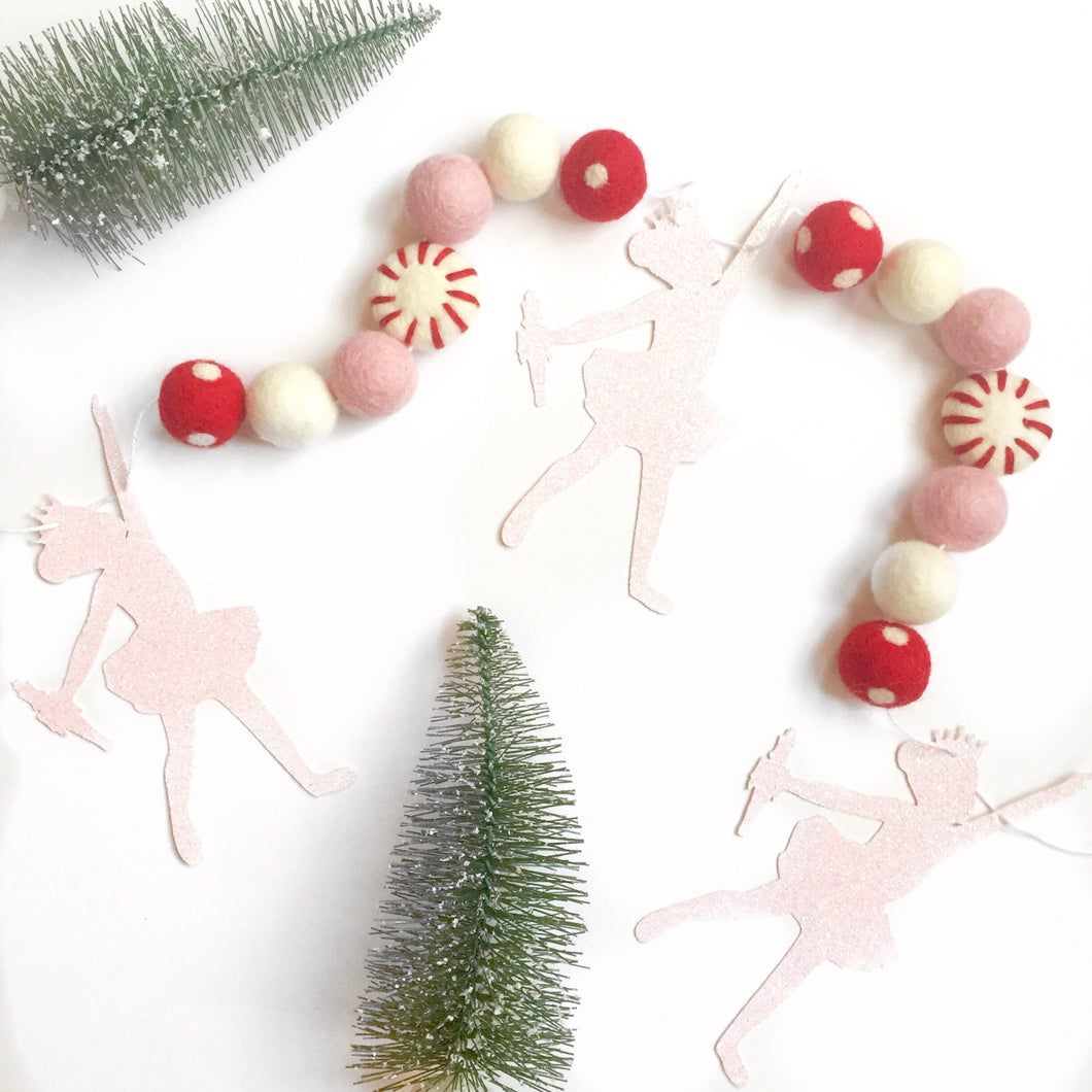 Sugar Plum Fairy Glitter + Felt Ball Garland