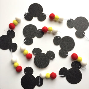Extra Long Mickey Glitter + Felt Garland