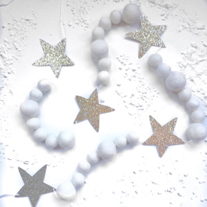 It's a Marshmallow World Glitter + Felt Ball Garland