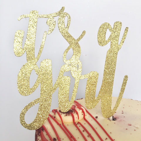 It's a Girl Cake Topper - Glambanners - 1