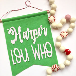 CHRISTMAS:  Personalized Cindy Lou Who Feltie Banner