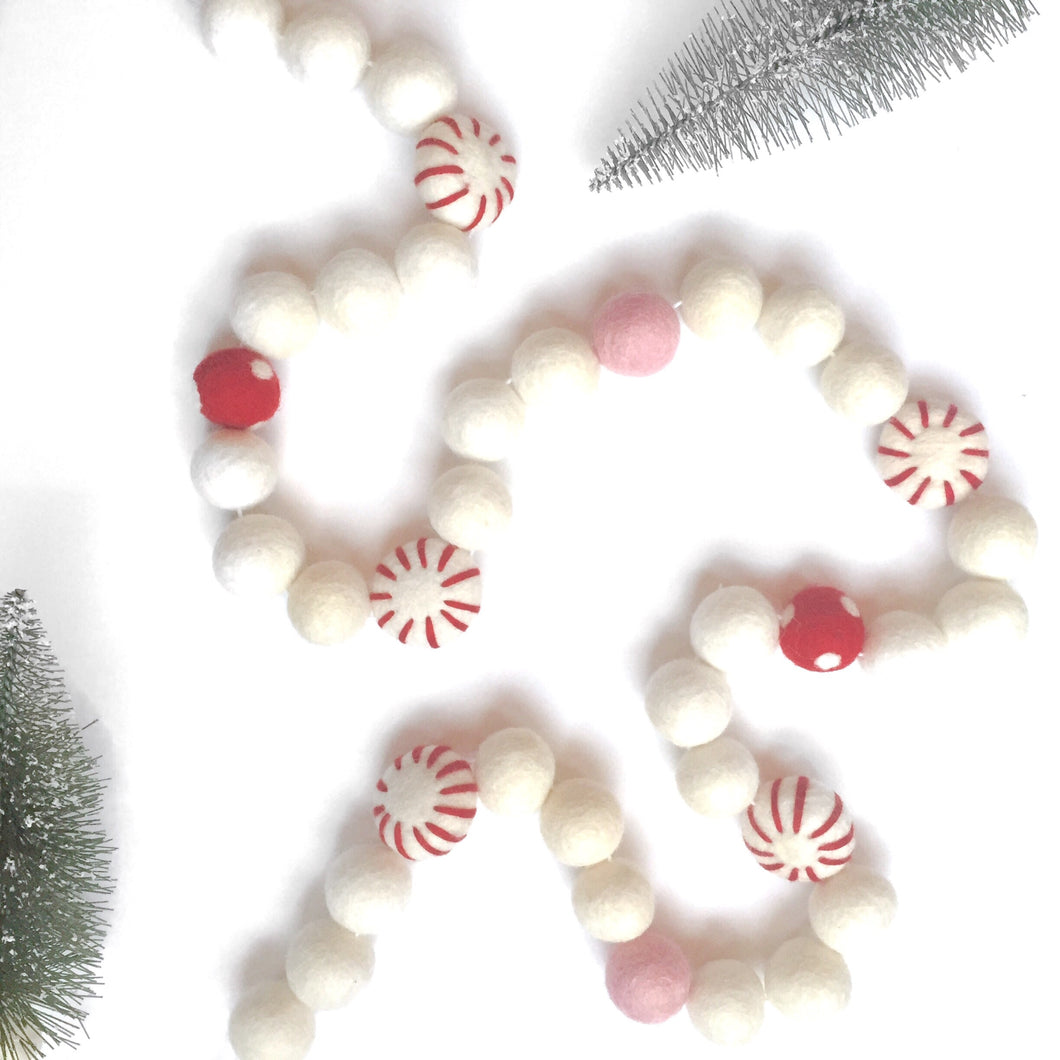 Peppermint Patty Felt Ball Garland
