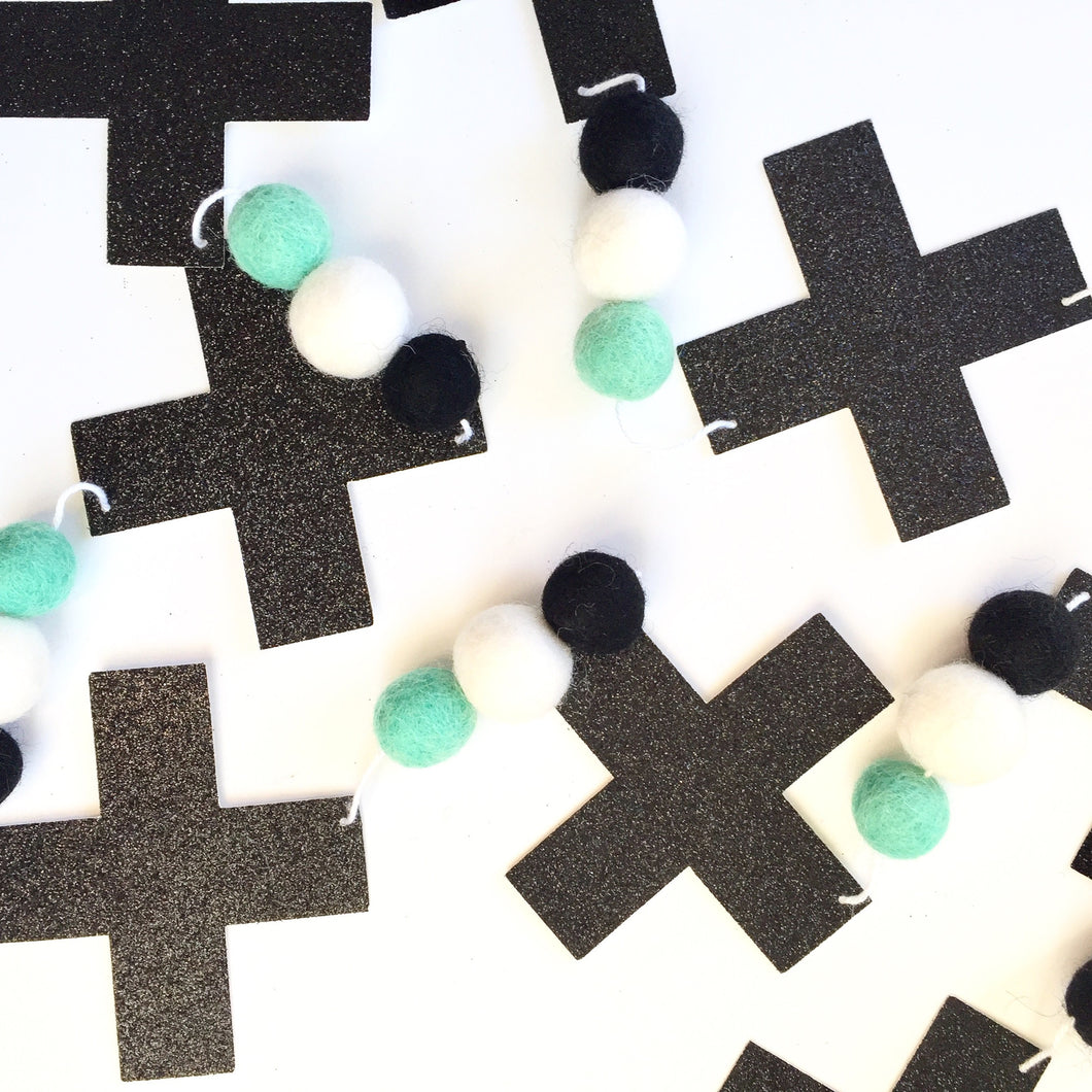 Cross Glitter + Felt Garland