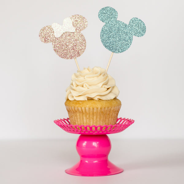 Mouse Gender Reveal Cupcake Toppers - Glambanners - 1