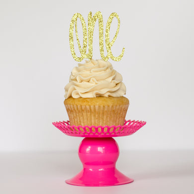 One (Script) Cupcake Toppers - Glambanners - 1