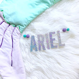 Personalized Bassinet Banner | Purple + Aqua Felt Balls
