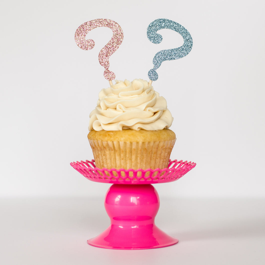 Question Mark Gender Reveal Cupcake Toppers - Glambanners - 1