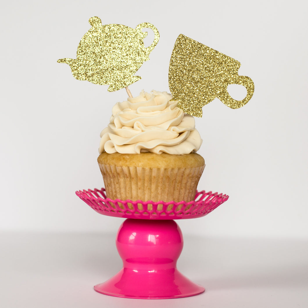 Teacup/Pot Cupcake Toppers - Glambanners - 1