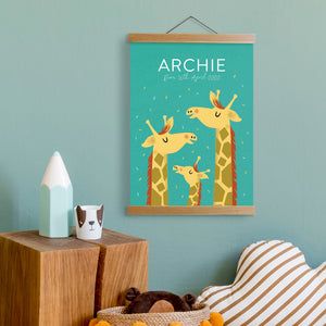 Personalised Giraffe Name Print