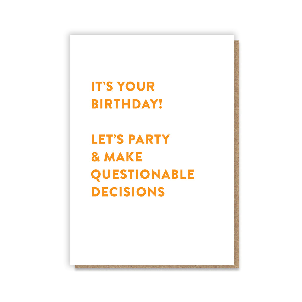 PB PRESSIES Questionable Decisions Card