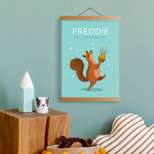 Load image into Gallery viewer, Personalised Squirrel Name Print