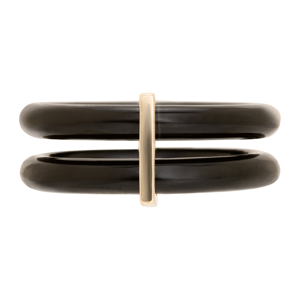BLISS LAU PRESENCE DOUBLE RING BLACK JADE YELLOW GOLD