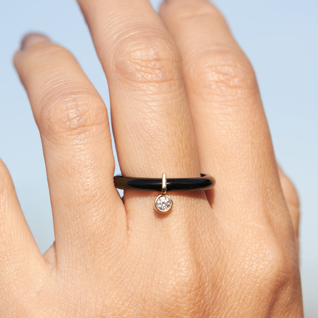 BLISS LAU ETHOS RING BLACK JADE YELLOW GOLD LAB GROWN WHITE DIAMOND