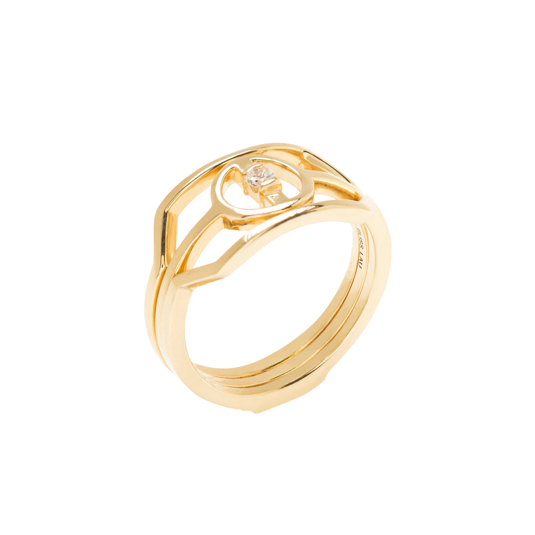 BLISS LAU HARMONIOUS RING SET YELLOW GOLD WHITE DIAMOND