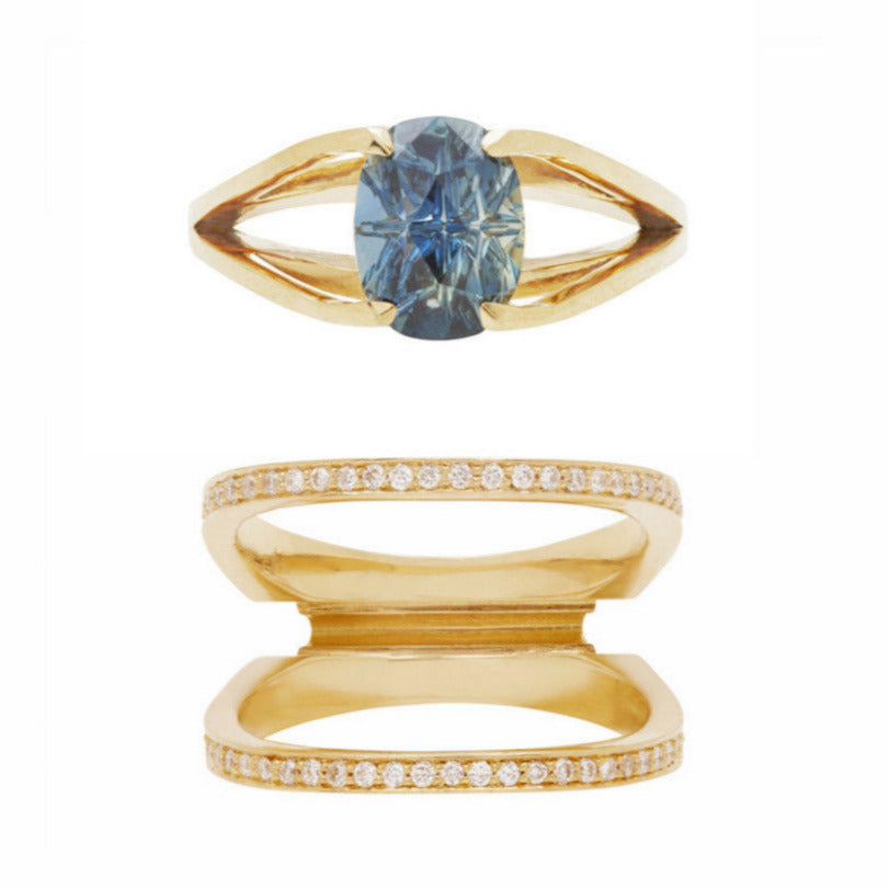 Acute + Centered Slide Ring Set 18K Yellow Gold Diamond Pave