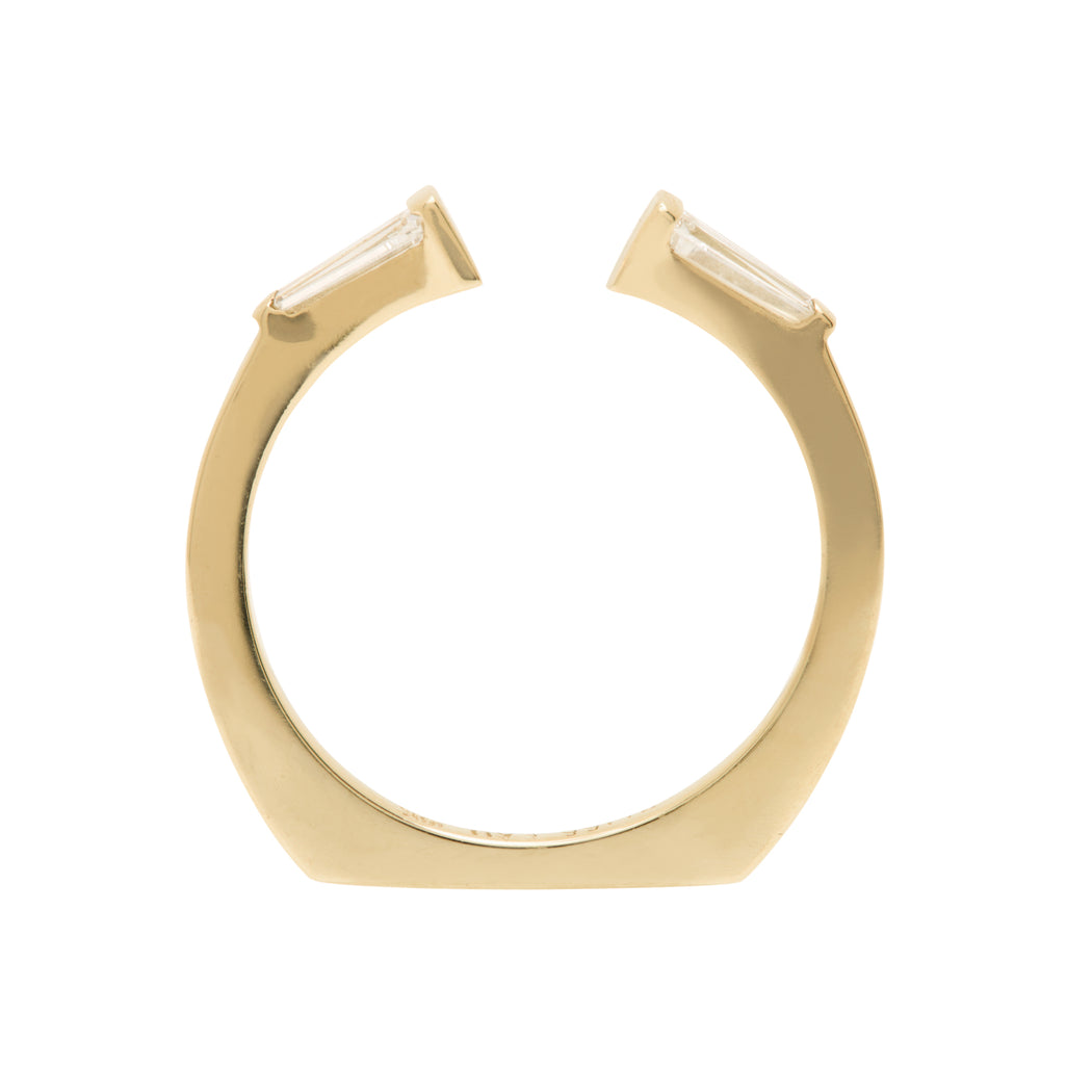 Bliss Lau Perspective Band Yellow Gold Tapered Baguette White Diamonds
