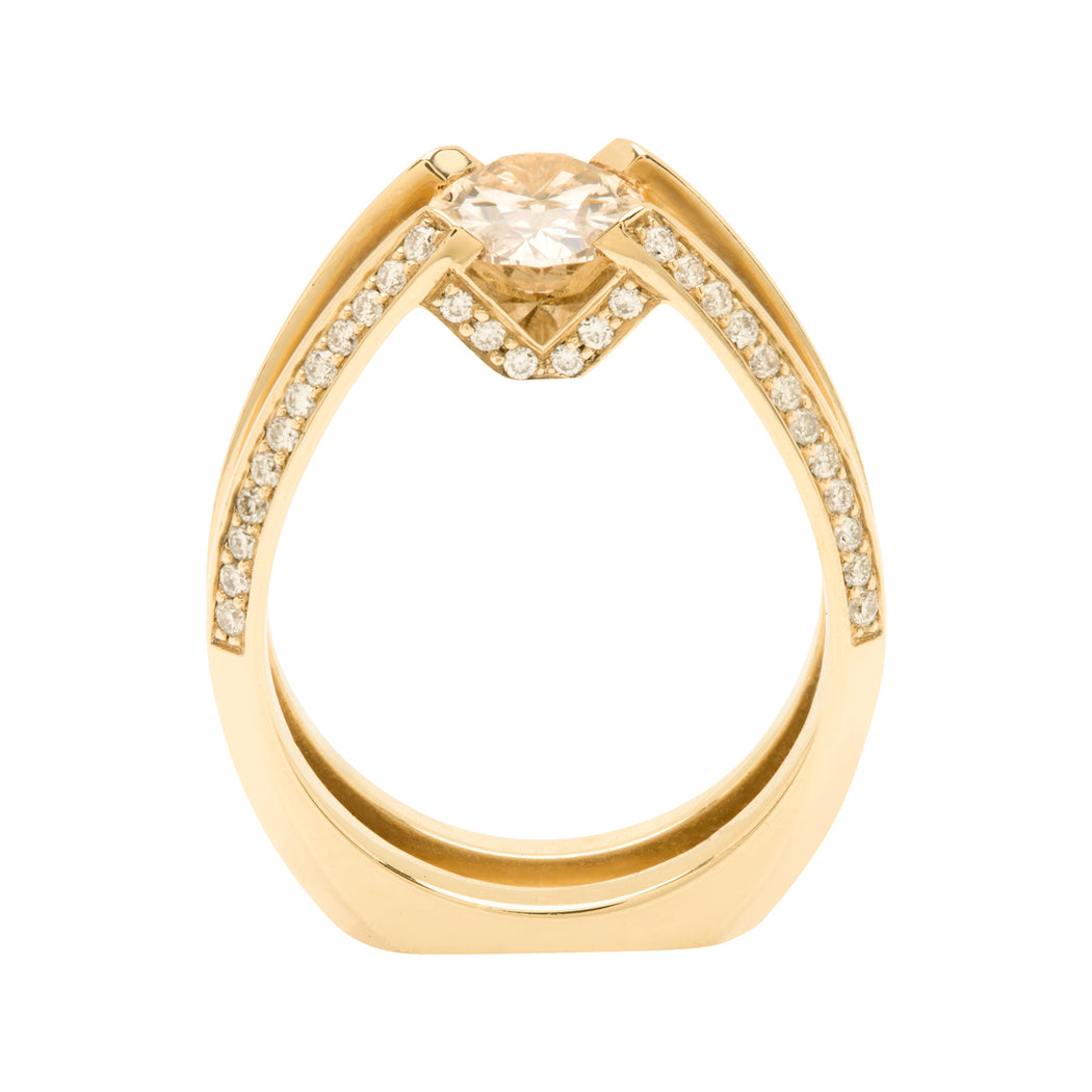 Bliss Lau Futurist Ring Yellow Gold Champange Diamond White Diamond Pavé