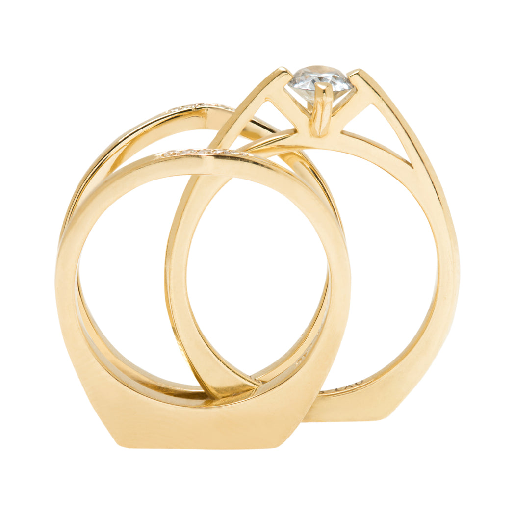 Minimalist Arc + Oblique X Enclose Ring Set