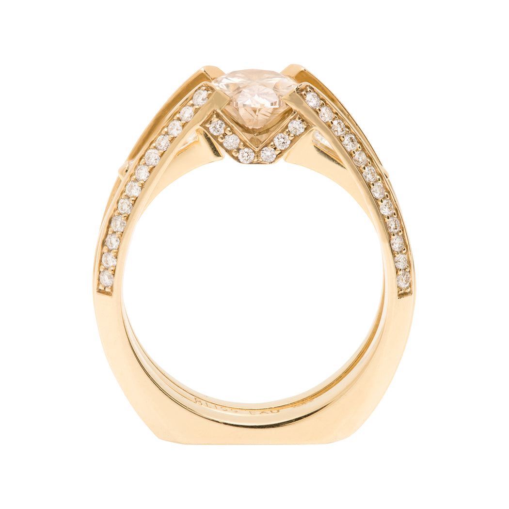 Bliss Lau Futurist + Perspective Ring Set Yellow Gold Champagne Diamond White Diamonds