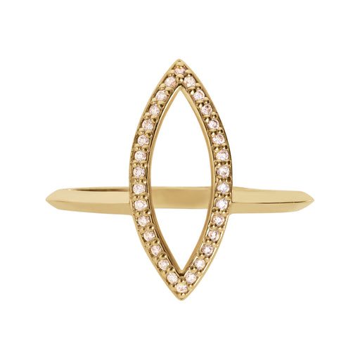 Bliss Lau Marquise Outline Halo Band Yellow Gold Lab Grown Natural White Diamond