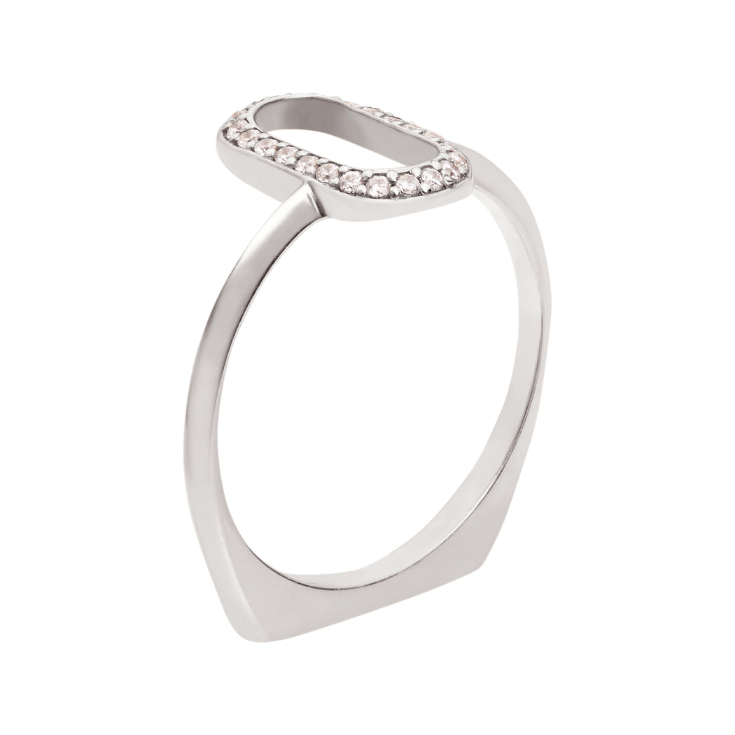 Bliss Lau Oval Outline Halo Band White Gold White Lab Grown Diamond