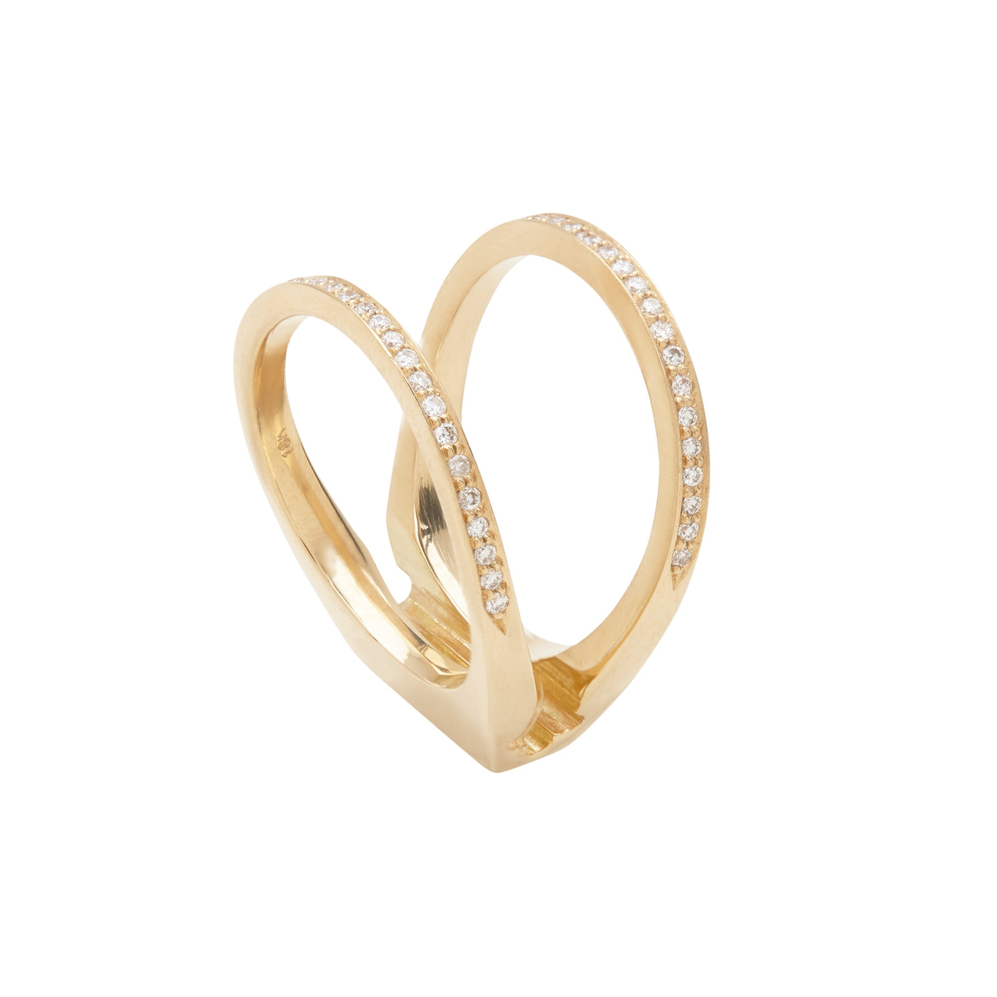 Acute Enclose Ring 18K Yellow Gold Diamond Pave
