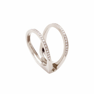 Acute Enclose Ring White Gold Diamond Pave