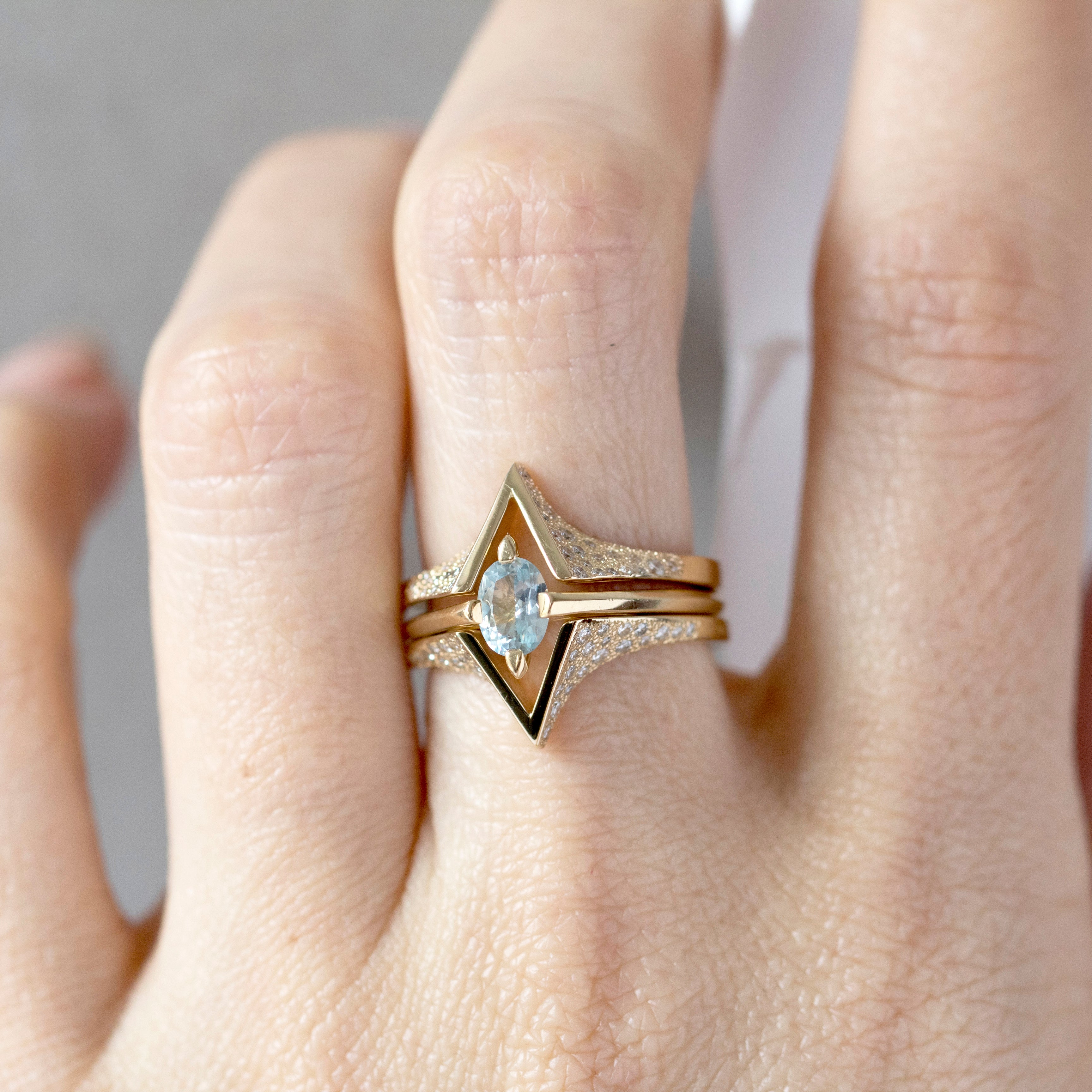 Minimalist Arc + Spire Pave Enclose Ring Set