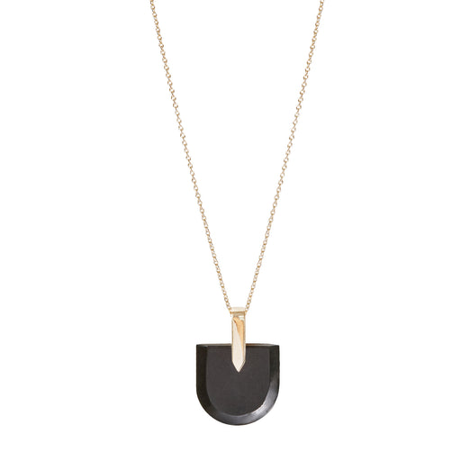 BLISS LAU BREVITY PENDANT BLACK JADE YELLOW GOLD NECKLACE